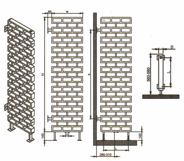 Radiateur architectural et décoratif de séparation d'espace de vie Brico de Carisa