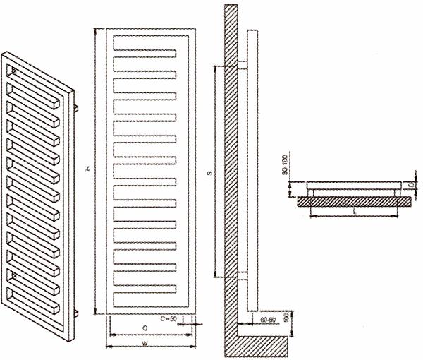 eloy radiateur s che serviettes inox p1911. Black Bedroom Furniture Sets. Home Design Ideas