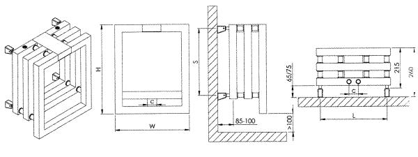 Dimensions radiateur design inox 3D Kubric de Carisa