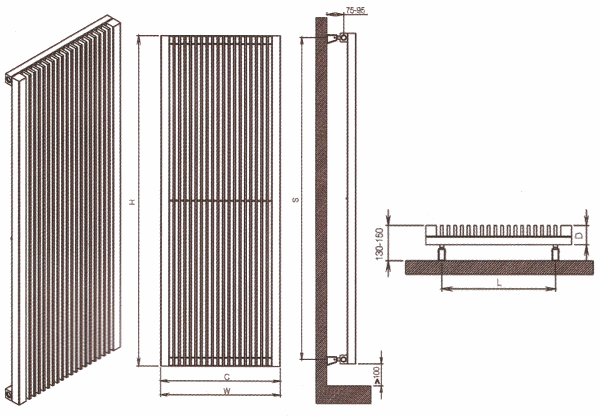 Radiateur design luxueux en acier inoxydable Strider de Carisa